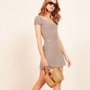 REFORMATION Striped Stretch Viola Fit Flare Dress